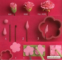 Different quick photo tutorial collages for making sugar paste roses