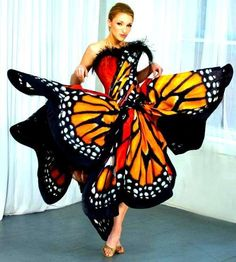 Seattle designer Luly Yang's creates a haute couture silk monarch butterfly dress design.