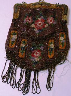 Vintage Multicolor Floral on Brown Miniature Glass Beaded Fringed Purse Handbag