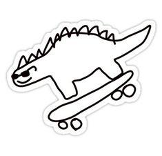 'Dino Skateboarding' Sticker by no-doubt - - Mini Tattoos, Small Tattoos, Stick N Poke, Poke Tattoo, Skateboard Art, Doodle Art, Doodles, Laptop Stickers, Drawings