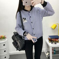 Stripe Mickey Button Up Sweater