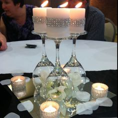 35 DIY Wedding Centerpieces – fafa 35 DIY Wedding Centerpieces Impressive DIY Wine Glasses On a Mirror Wedding Table Centerpiece With Candles and White Flowers (Diy Wedding Table) Wedding Table Flowers, Wedding Decorations, Christmas Decorations, Table Decorations, Table Wedding, Christmas Centerpieces, Wedding Reception, Graduation Centerpiece, Wedding Cake