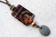 Batik Brown Bead Necklace Stone Beaded Jewelry by LittleBitsOFaith