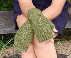 Hand-Knit Fingerless Gloves - Oak Leaf Detail - Merino / Silk Blend Yarn - Unisex - Man, Woman or Teen - very warm and super stylish!