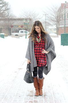 Buffalo Plaid Dress, Blanket Poncho