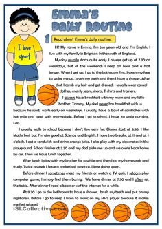 Emmas daily routine - reading | FREE ESL worksheets
