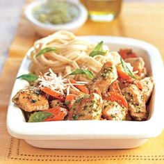 Chicken with Parmesan Noodles: You can toss together this quick dish of angel hair pasta, grilled chicken, basil pesto, carrots, and parmesan cheese in minutes.