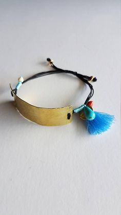 A handmade brass hammared bracelet with tassel. The closure is adjustable so it can fit in every hand. Every jewelery is shipped in a gift box! Jewelry Clasps, Leather Jewelry, Clay Jewelry, Metal Jewelry, Jewelry Art, Jewelery, Fabric Bracelets, Wish Bracelets, Ankle Bracelets