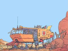 There is so much to love about this image - the colours, the forms, the detail - by Moebius
