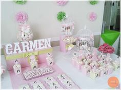 #comunion #candytable #candy #buffet #fiesta #party #pink Candy Table, Candy Buffet, Fiesta Party, Cake, Pink, Fiestas, Pie, Kuchen, Candy Stations