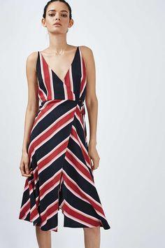 Stripe Wrap Slip Dress - Topshop