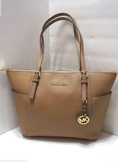 9202e9f27d01 Michael Kors Saffiano Leather Jet Set East West Top Zip Tote Dark Khaki for  sale online | eBay