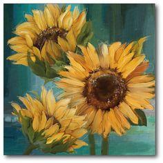 Farmhouse Sunflower Painting Print on Canvas