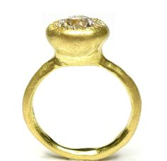 18ct Large Pledge ring set with an old cut diamond.