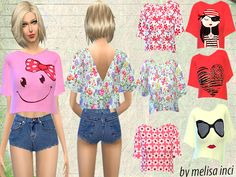 The Sims Resource: Floral Cropped Top by Melisa_inci • Sims 4 Downloads