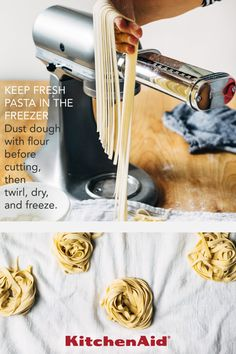 Fuel your culinary passion with the revolutionary KitchenAid Other Pasta Roller & Cutter Set, product number KSMPRA. Homemade Fettuccine, Fettuccine Noodles, Kitchen Aid Recipes, Cooking Recipes, Kitchen Aide, Pasta Facil, Comida Boricua, Fresh Pasta, Pasta Dishes