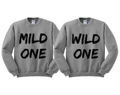 Grey Crewneck Mild One Wild One Best Friends Sweatshirt Sweater Jumper Pullover on Etsy, $16.99