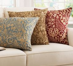 2 of the 4 pillows for the PB comfort sectional....PB Gabrielle Paisley..one in red and one in caramel
