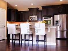 kitchens with wood floors and cabinets - Google Search