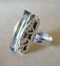 Taxco Artisan Maria Elena Munoz Modernist Green Citrine Ring Sz 6.5 Sterling 925 | eBay