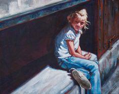 """Contemplation"", © Angela Bandurka, Acrylic on Canvas  #art #acrylic #painting #child #girl #portrait #shadow"
