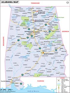 Alabama Map for free download. Printable map of Alabama, known as Heart of Dixie, shows cities, lakes, rivers, rail lines, attractions, roads, airports, national parks, etc
