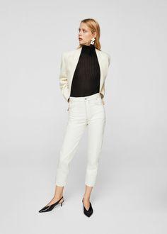 Jeans Straight Leg - off white @ Zalando. Jeans Straight Leg, Jean Straight, Skinny Fit, Skinny Jeans, Coton Bio, Mango Fashion, Manga, White Jeans, Belgium