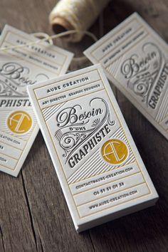 Cartes de visite en jaune moutarde, noir et sans encre pour Aure Création / letterpress business cards printed by Cocorico Letterpress