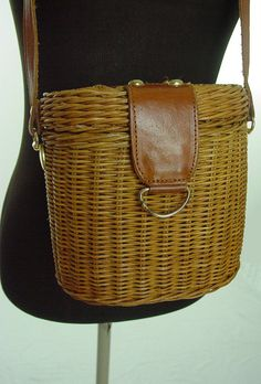 Vintage Magid wicker basket oval box shoulder bag leather strap brass