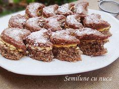 Semilune cu nuca Romanian Desserts, Romanian Food, Cake Recipes, Dessert Recipes, Food Cakes, Food And Drink, Sweets, Candy, Cookies