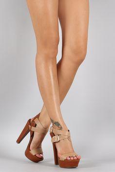Breckelle Classic Duo Straps Platform Heel