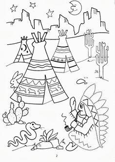 peter pan indian princess coloring pages | kleurplaat indianen bij tipi, kleuteridee.nl . - Thema ...
