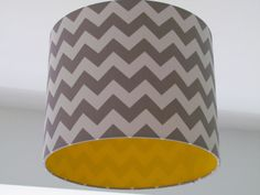 NEW Handmade Minky Grey and White Zig Zag Chevron Yellow Lining Lampshade Lightshade - Toptrendpin Yellow Gray Bedroom, Yellow Nursery, Mustard Bedroom, Low Energy Light Bulbs, Grey Hallway, Large Floor Lamp, Ceiling Shades, Yellow Line, Front Rooms