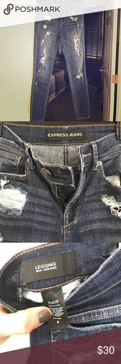 Express Mia jean legging Mid rise destroyed jean that is in perfect condition. Never put in the dryer, regular length Express Jeans Skinny