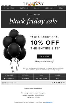 """Tradesy Black Friday email design - Nov. 29, 2013 - """"☆ The Biggest Sale of the Year ☆"""" (Also sent this email the day before with the subject line of """"Gobble this Sale Up!"""")"""