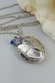 Ocean Butterfly,Necklace,Locket,Butterfly, Silver Locket, Butterfly Locket, Wings,Silver. Handmade Jewelry by valleygirldesigns on Etsy. on Etsy, $31.00