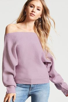 Forever 21 Knit Off-the-Shoulder Sweater Winter Fashion Outfits, Casual Outfits, Long Sweaters, Sweaters For Women, Forever 21, Off Shoulder Sweater, Shoulder Tops, Cardigan Fashion, Ribbed Sweater