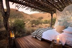 Located in Tswalu Kalahari - the largest private game reserve in South Africa - the Tswalu Tarkuni lodge is one of Africa's most exclusive and offers unrivalled tranquility in pristine desert surroundings. Bungalows, Design Jardin, Sleeping Under The Stars, Destination Voyage, Romantic Places, Game Reserve, African Safari, Amazing Destinations, Africa Travel