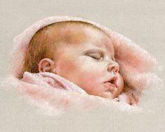 Retrato de bebé personalizadas. Pastel por MargaretScanlanArt