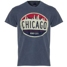 Chicago Men's Indigo Skyline Oval Logo Dyed Tee by Lakeshirts Chicago Shirts, Oval Logo, Indigo, Skyline, Mens Tops, T Shirt, Tee Shirt, T Shirts, Indigo Dye