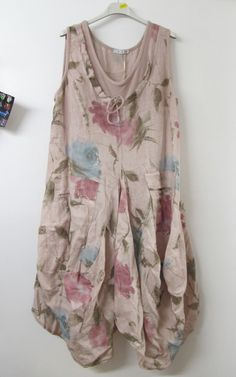 Lagenlook Linen Parachute Drawstring Tunic Pink Floral £34.99