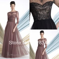New Boat Neck three Quarter Sleeves A line Black Tulle Lace Beaded Floor Length Mother of The Bride Dresses Evening Gowns 2013-in Mother of the Bride Dresses from Apparel & Accessories on Aliexpress.com