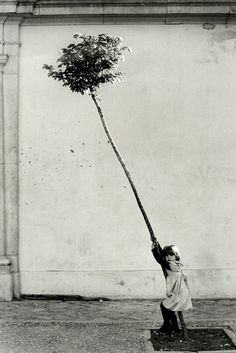 Girl hugging a tree.  Photo by Sabine Weiss.