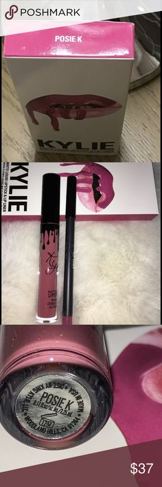 Kylie Jenner's Posie K Lip Kit Kylie Jenner Posie K Lip Kit  Each Lip Kit comes with a Matte Liquid Lipstick and matching Lip Liner. Posie K is a cool mid-tone berry. This ultra-long wearing lip liner has a creamy texture that glides across the lips for a very easy and comfortable application.   The Liquid Matte Lipstick has high intensity pigment for an instant bold matte lip. The extremely long wearing lipstick contains moisturizing ingredients for a comfortable, emollient and silky feel…