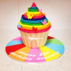Rainbow giant cupcake cake!