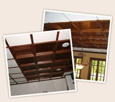 Coffered Ceiling, Wood, Drop, Suspended Ceilings, Panels and Tiles Ceiling Grid, Ceiling Panels, Ceiling Tiles, Basement Ceilings, Coffer, Mudroom, Home Projects, Interior Decorating, Sweet Home