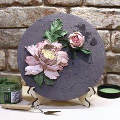 Flower Crafts, Flower Art, Plaster Art, Sculpture Painting, Flower Canvas, Flower Wall Decor, Clay Flowers, Clay Art, Decoupage