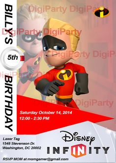 Disney Infinity Birthday Invitation https://www.etsy.com/listing/173294220/disney-infinity-incredibles-same-day