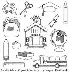Doodle School Clipart Clip Art Hand Drawn Sketched by PinkPueblo