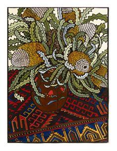 Banksias on Rug by Christine McCarthy. Australian Native Flowers, Australian Art, Australian Garden, Botanical Drawings, Botanical Prints, Lino Print Artists, Christine Mccarthy, Woodcut Art, Linoprint